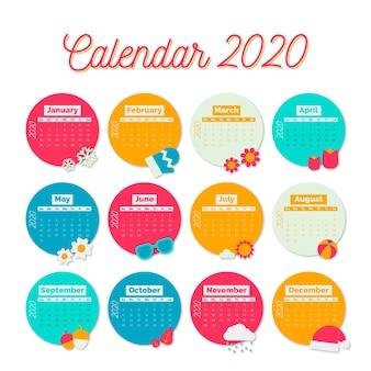 Bunte kalendervorlage für 2020