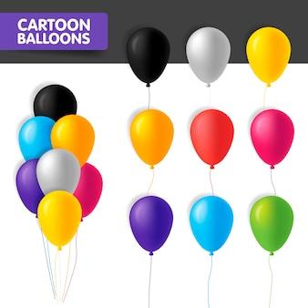 Bunte karikaturballons des banners lokalisiert auf weißem hintergrund. illustration. glänzende luftballons in verschiedenen farben in bündeln und in einer reihe mit kordel. aufblasbare luftballons.