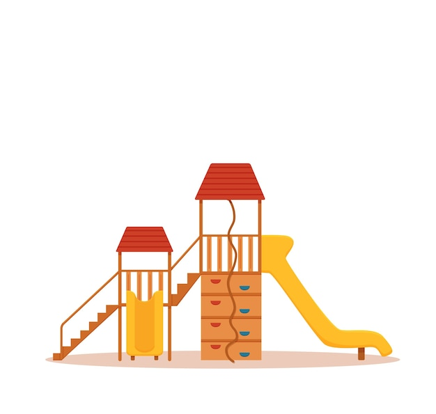 Bunte karikaturillustration des kinderspielplatzes. illustrationsgestaltungselemente der stadtparkkinder: schaukeln, eine rutsche, ein sandkasten.