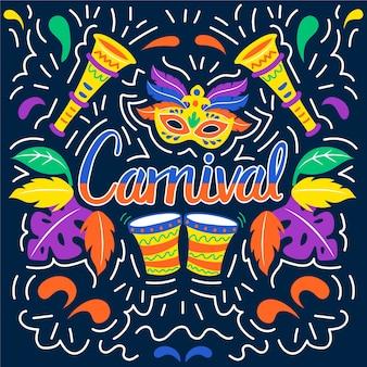Bunte karnevalshand gezeichnet