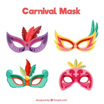 Bunte karnevalsmasken mit federn