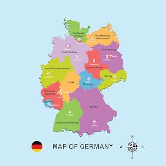 Bunte karte von deutschland mit hauptstadt auf blauer hintergrundvektorillustration.