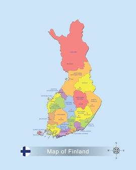 Bunte karte von finnland mit hauptstadt auf blauer hintergrundvektorillustration.