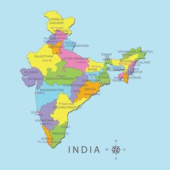 Bunte karte von indien mit hauptstadt auf blauem hintergrund.