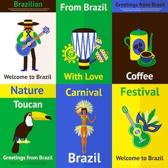 Bunte karten mit traditionellen elementen