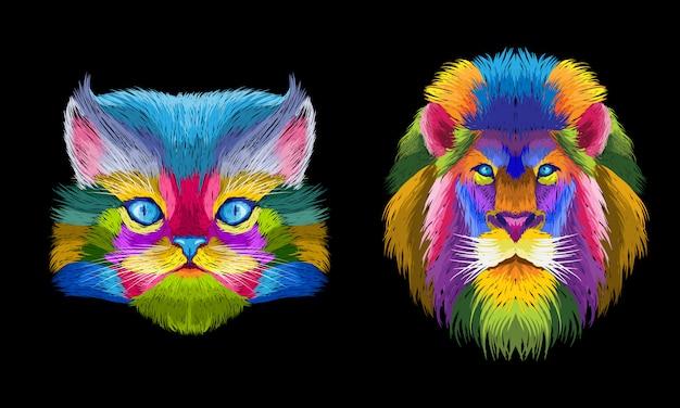 Bunte katzen- und tiger-pop-art-porträtillustration Premium Vektoren