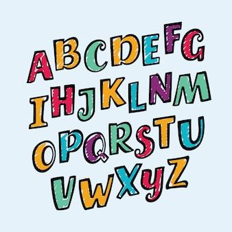 Bunte kinder geneigt alphabet buchstaben set lustige schriftart enthält grafikstil. schräg geneigtes abs handgezeichnet von marker in verschiedenen farben.