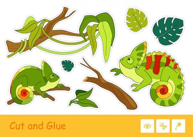 Bunte kinderregenwaldaufkleberpackung mit niedlichen chamäleons, pflanzen und zweigen lokalisiert auf weißem hintergrund. eidechsen schneiden und kleben kinderspiel.