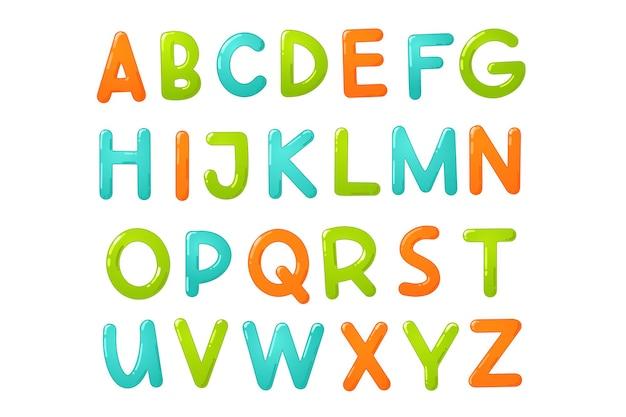 Bunte kinderschrift. glänzendes kinderalphabet im cartoon-stil. vektortypografie für schule, vorschule und kindergartendesign.