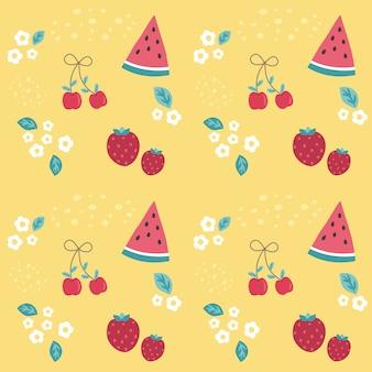 Bunte kirsche, erdbeere und wassermelone des nahtlosen musters auf gelb