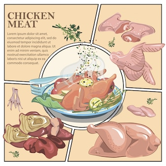 Bunte kochzusammensetzung mit gebratenem huhn auf teller und rohem hühnerschenkelfiletflügelfüßen-leberherz