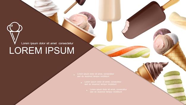 Bunte komposition der realistischen eiscreme mit eis am stiel eisbecher fruchtschokolade vanilleeis und kugeln verschiedener geschmacksrichtungen
