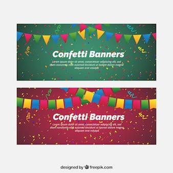Bunte konfetti banner mit dekorativen wimpel