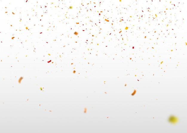 Bunte konfetti fliegen nach dem zufallsprinzip. abstrakter hintergrund mit fliegenden partikeln