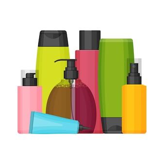 Bunte kosmetikflaschen für schönheit und reinigungsmittel, haut- und körperpflege, toilettenartikel. flaches design auf weißem hintergrund. creme, zahnpasta, shampoo, gel, spray, tube und seife