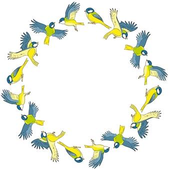 Bunte kranzverzierung der karikaturmeise frühlingsvögel