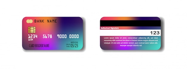 Bunte kreditkartenschablone