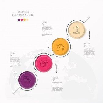 Bunte kreise infographic mit arbeitsmannikonen.