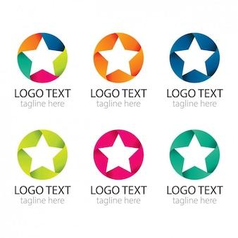 Bunte kreise mit sternen logos pack