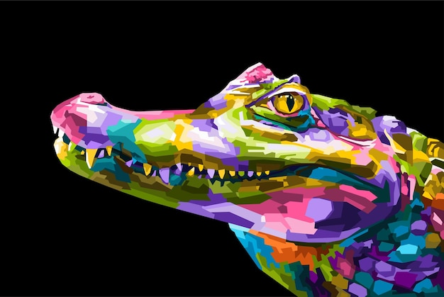 Bunte krokodil-pop-art-porträt-stil isoliert dekoration