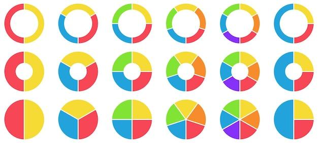 Bunte kuchen- und donut-diagramme. kreisdiagramm, kreisabschnitte und runde donuts-diagrammstücke.