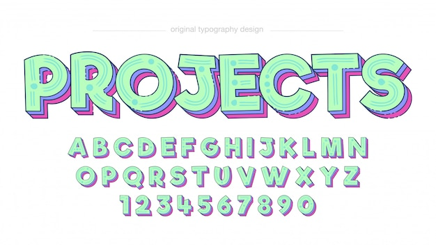 Bunte kühne karikatur unregelmäßige typografie