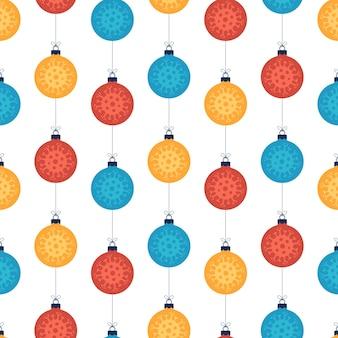 Bunte kugeln des nahtlosen musters des weihnachtskoronavirus auf weißem hintergrund