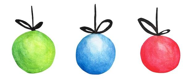 Bunte kugeln gesetzt. aquarell-weihnachtskarte für einladungen, grüße, feiertags-weihnachtsspielzeug für tannenbaum.
