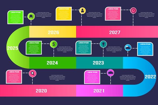 Bunte kurvige linie timeline infografik