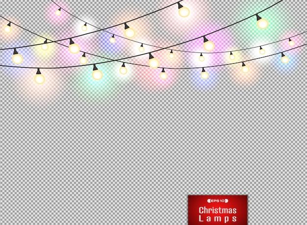Bunte lampendekoration auf rotem weihnachtshintergrund der steigung.