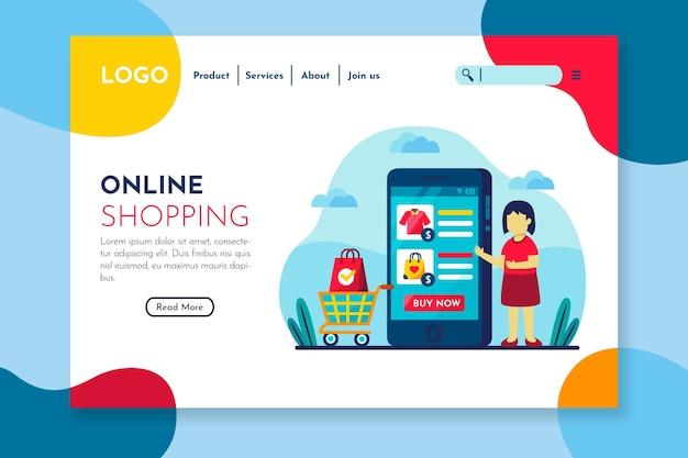 Bunte landingpage für leute, um online zu kaufen