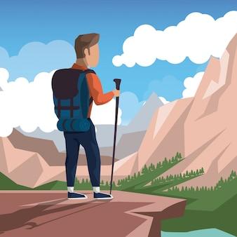 Bunte landschaft des kletternden mannes an der spitze des berges