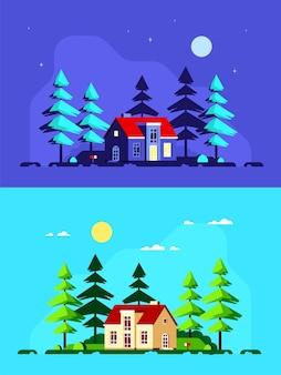 Bunte landschaft mit modernem landhaus und kiefern. waldhaus, sommerhaus, landleben.