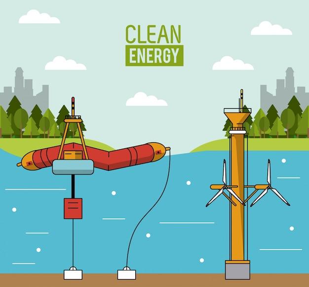 Bunte landschaftshintergrundwellenenergie und -gezeitenenergie