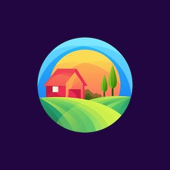 Bunte landwirtschaftslogoschablone
