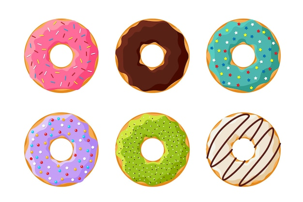 Bunte leckere donut-set der karikatur isoliert auf weißem hintergrund. glasierte donuts-draufsicht-kollektion für kuchen-café-dekoration oder menüdesign. flache vektorgrafik