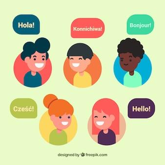Bunte leute, die verschiedene sprachen mit flachem design sprechen