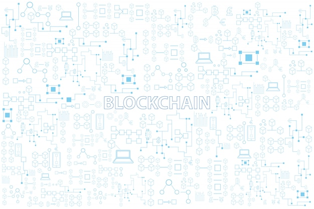 Bunte linie runde vektorillustration der blockchain-technologie auf weißem hintergrund