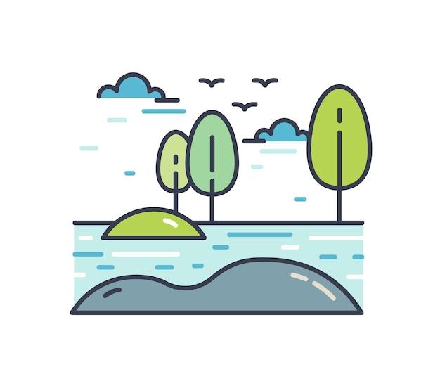 Bunte linienkunst naturlandschaft. malerische lineare landschaft mit ufer des flusses oder sees, bäume und vögel, die in den himmel fliegen. einfache vektorillustration lokalisiert auf weißem hintergrund.