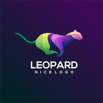Bunte logo-steigungsillustration des leoparden