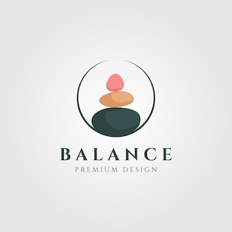 Bunte logoillustration der steinbalance