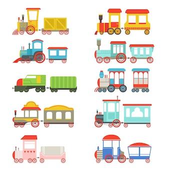 Bunte lokomotiven und wagen illustrationen auf einem weißen hintergrund