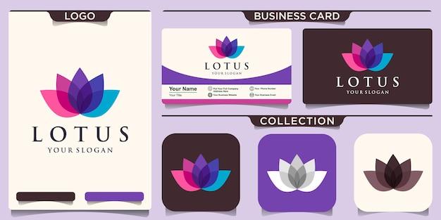 Bunte lotusblumen-logo-designinspiration und visitenkarte