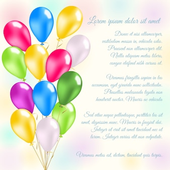 Bunte luftballons einladungskarte
