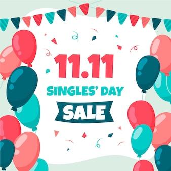 Bunte luftballons mit girlande für den tag der singles