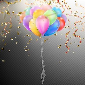 Bunte luftballons mit konfetti.