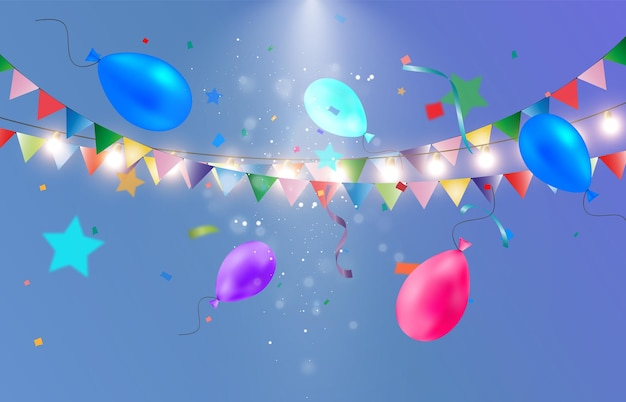 Bunte luftschlange mit luftballons vorlage für glückwünsche
