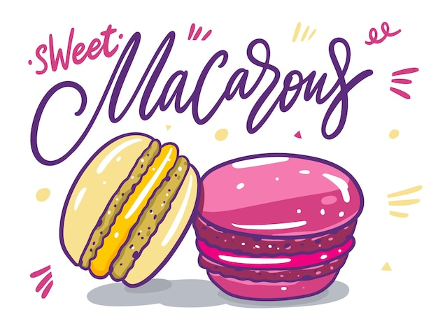 Bunte macarons stellten sammlungsillustration ein