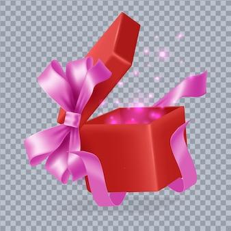 Bunte magische geschenkboxzusammensetzung der karikatur
