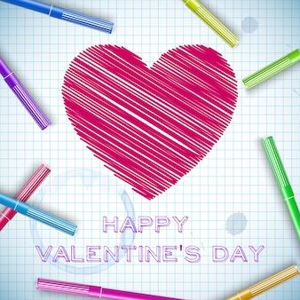 Bunte markierungsstifte des romantischen schlüpfenden roten herzens der schule auf papierblattvektorillustration